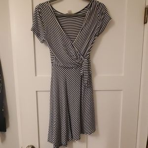 blue and white striped wrap dress
